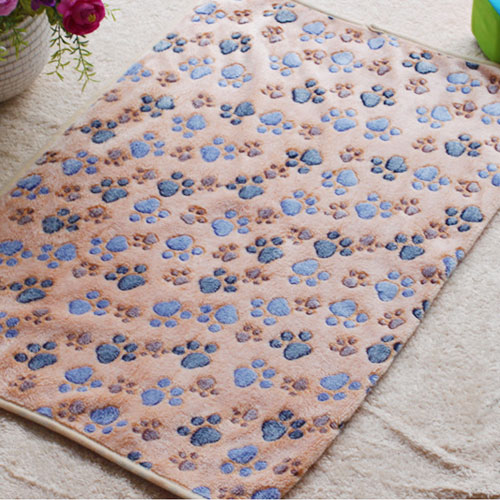 60x40cm Pet Small Large Warm Paw Print Dog Puppy Fleece Soft Blanket Beds Mat XS