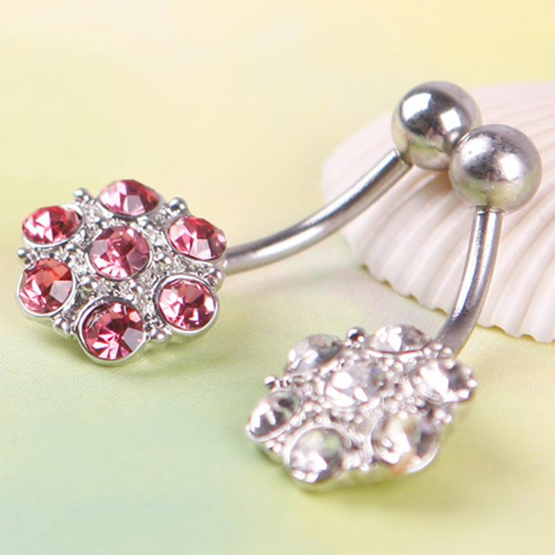 Pretty Flower Rhinestone Navel Belly Button Barbell Ring Body Piercing
