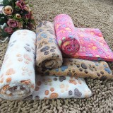 104*76cm Pet Small Large Warm Paw Print Dog Puppy Fleece Soft Blanket Beds Mat M