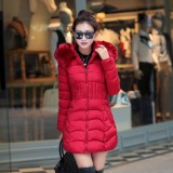 Winter Women Down Warm Long Padded Fur Collar Hooded Coat Jacket Outwear Big Size 5 Colors
