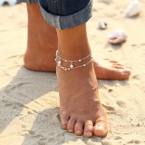 1Pc Fashion Simple Silver Gold Plated Double Chain Anklet Cross Shape Pearl Bracelet Jewelry