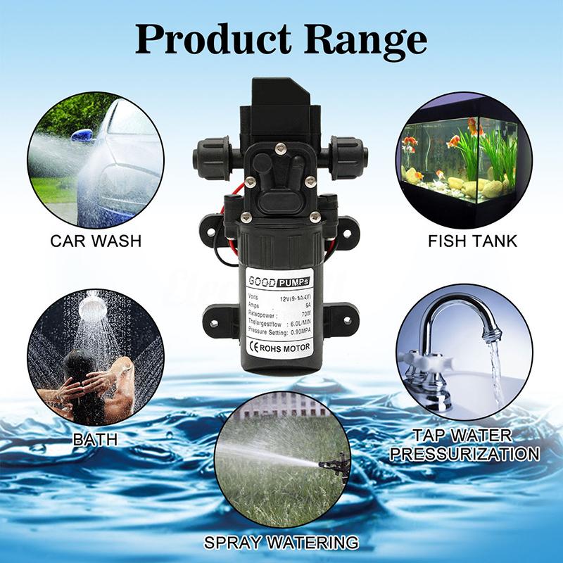 DC12V 70W 130PSI 6L/Min Water High Pressure Diaphragm Self Priming Pump
