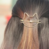 Fashion Hollow Cute Cat Hair Grips Clip Pearl Hairpin Wedding Jewelry Accessories Gift