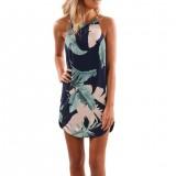 Women Ladies Summer Dress Sleeveless Casual Sexy Floral Print Beach Dress Fashion Spaghetti Strap Mini Short Dress