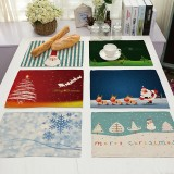 Christmas Placemat Table Mats Kitchen Snowflake Santa Dining Mat Pad