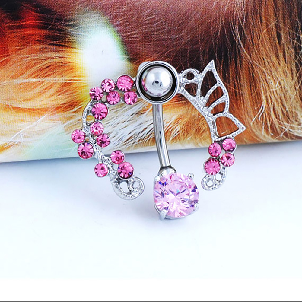 Fashion White Pink Crystal Flower Belly Navel Button Ring Medical Steel Surgical Body Piercing Jewelry