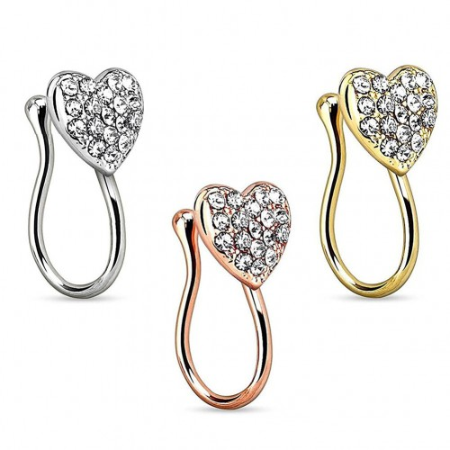 Women Unique Rhinestone Heart Fake Nose Ring Septum Piercing Nose Clip Splint Body Jewelry Gift