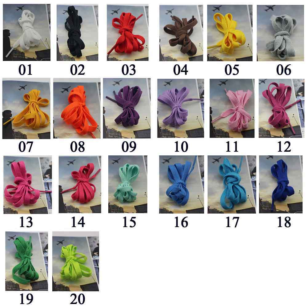 One Pairs Shoe Laces Strings Sports Shoes Boots Sneakers Skates Flat Shoelaces 20 colors