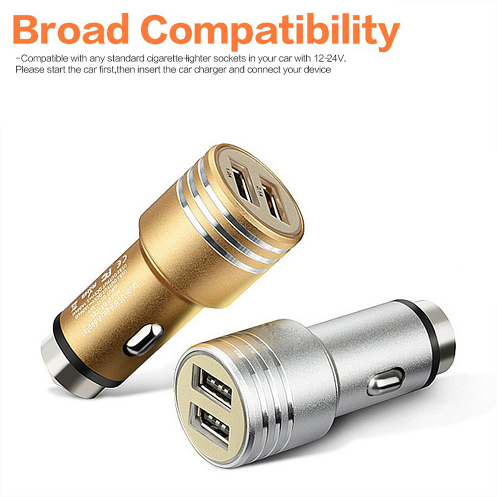 Car Dual USB 2 Ports Adapter Charger Car Escape Emergency Circular Metal Safety Hammer