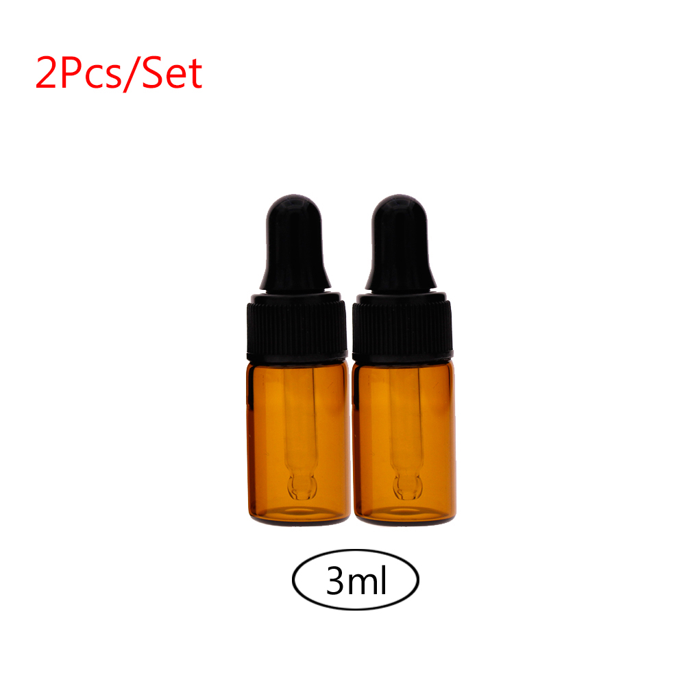 2pcs Amber Small Glass Dropper Bottles Vials for Essential Oil Sampling