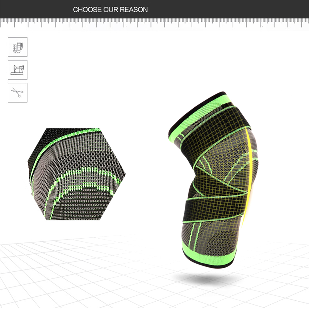 Professional 3D Weaving Sport Pressurization Knee Pad Gym Basketball Knee Support Brace Injury Pressure Protect