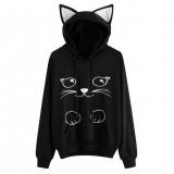 Women Fashion Cat Loose Long Sleeve Hooded Hoodie Pullover Sweatshirt Coat
