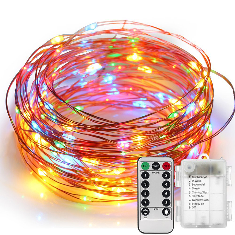 100LED 10M Colorful Light Fairy Party Decoration Lights Powered Battery