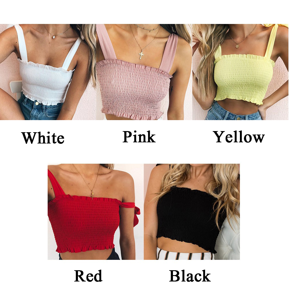 Fashion Solid Tie Bow Chiffon Camis Streetwear Tube Top Women Ruched Pleated Crop Sexy Bustier Tees Female Tank Tops