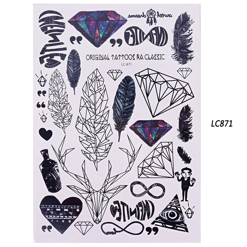 1 Sheet Gradient Colorful Beauty Decal Waterproof Body Art Temporary Glitter Tatoo Sticker Tool 210*150mm