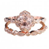 Luxury 18K Rose Gold Round Floral Crystal Diamond Zircon Engagement Ring 2 Pcs Bridal Wedding Band Ring Set
