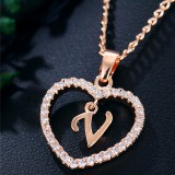 A To Z Letter Name Necklaces & Pendant For Women Girl Fashion Long Chain Heart Necklaces Cubic Zirconia DIY Jewelry Gifts