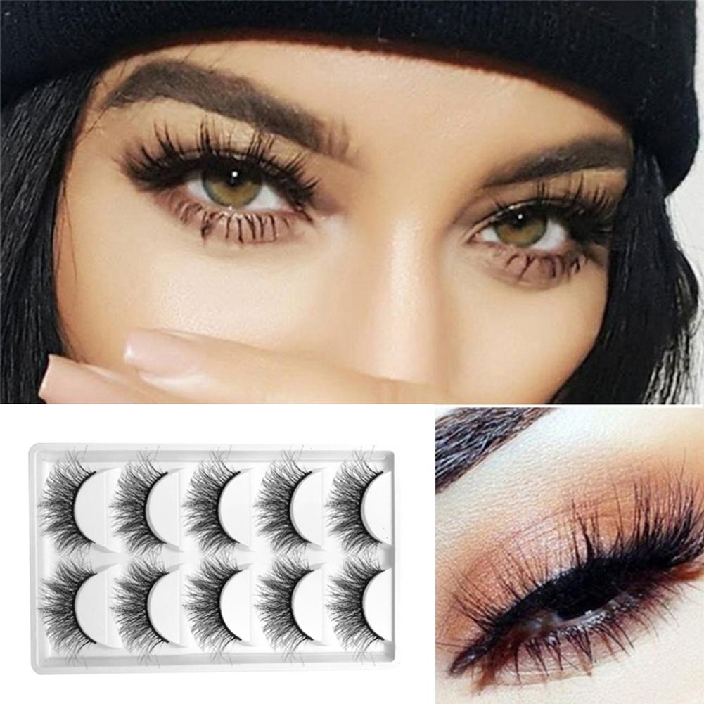 5 Pairs Handmade 3D Mink False Eyelashes Cross Thick Long Lashes Black Eye Lashes Extension