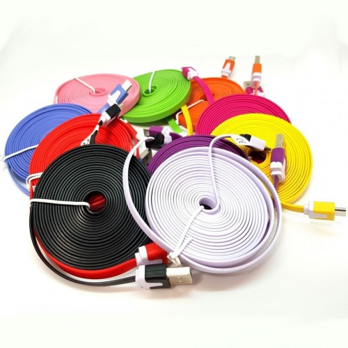 3M Colorful Micro Usb Ribbon Cable Lead Flat Noodle Data Sync Fast Charger Wire Charging Data Cable