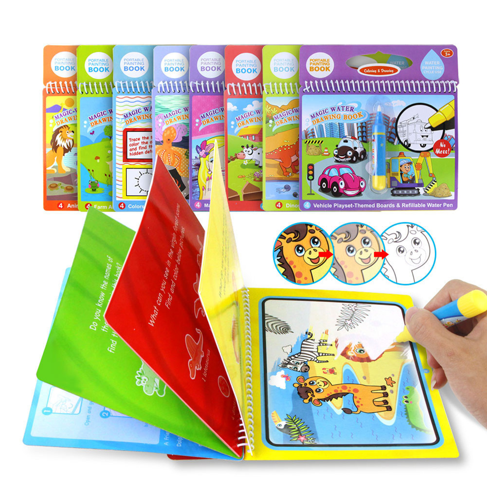 Portable Children Drawing Water Pen Painting Magic Doodle Book