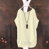 Summer European Ladies Casual Batwing Short Sleeve Blouse Loose Linen Blouse Solid Color Tops Large Size S-5XL