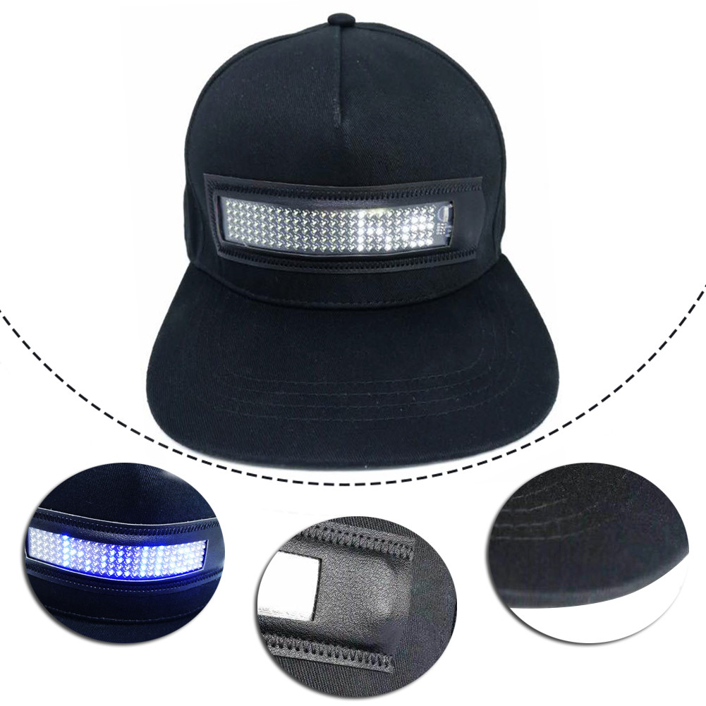 LED Display Screen Hat Lighted Glow Club Party Sports Athletic Travel Flashlight Baseball Golf Hip-hop Flash Cap Performance Men Women