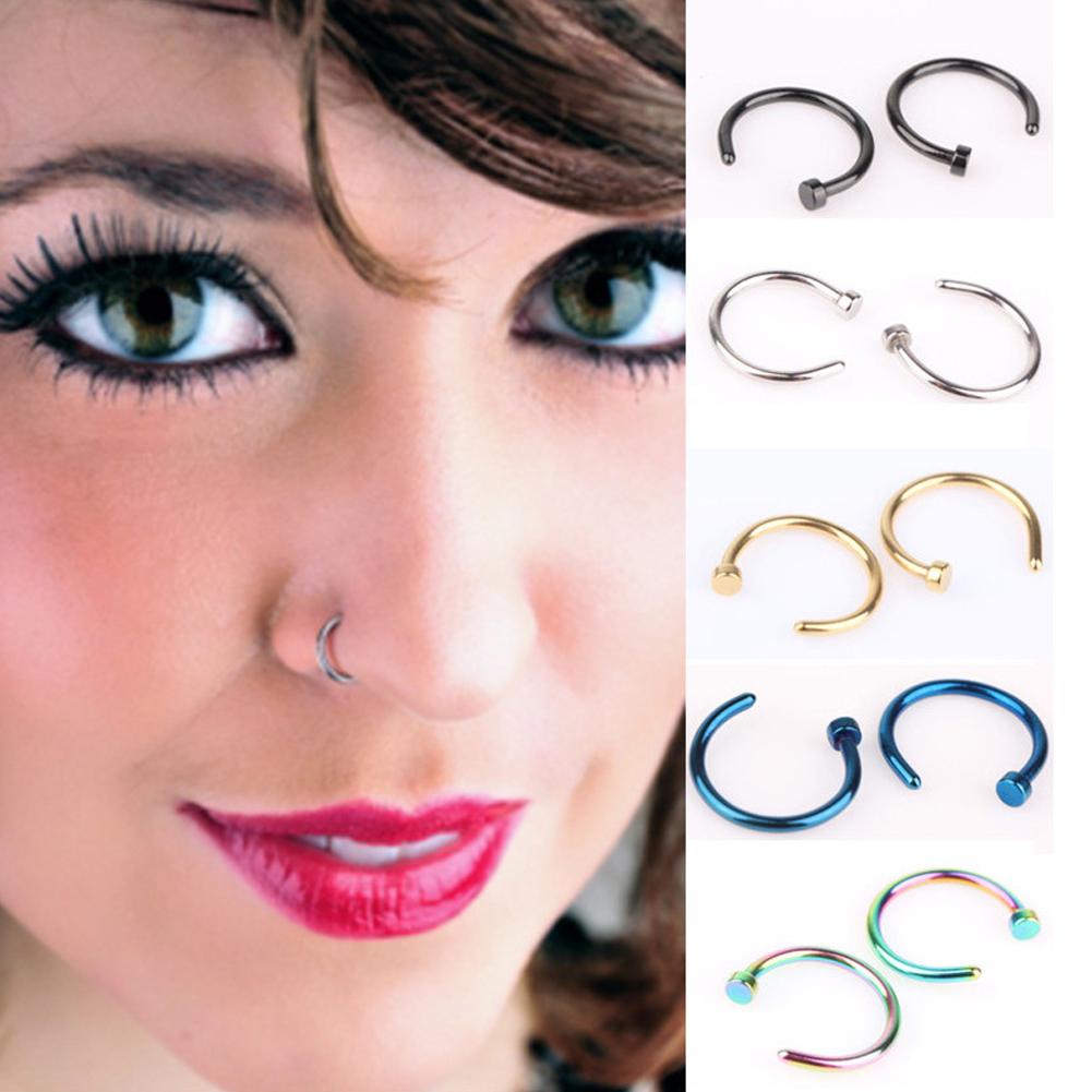 C Shape Stainless Steel Nose Ring Trend Fake Septum Llip Non Piercing Swirl Septum Nose Ring Faux Clicker