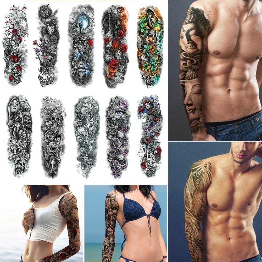 Waterproof Unisex Temporary Tattoo Sticker Large Full Arm Body Art Tattoos Long Lasting Stickers