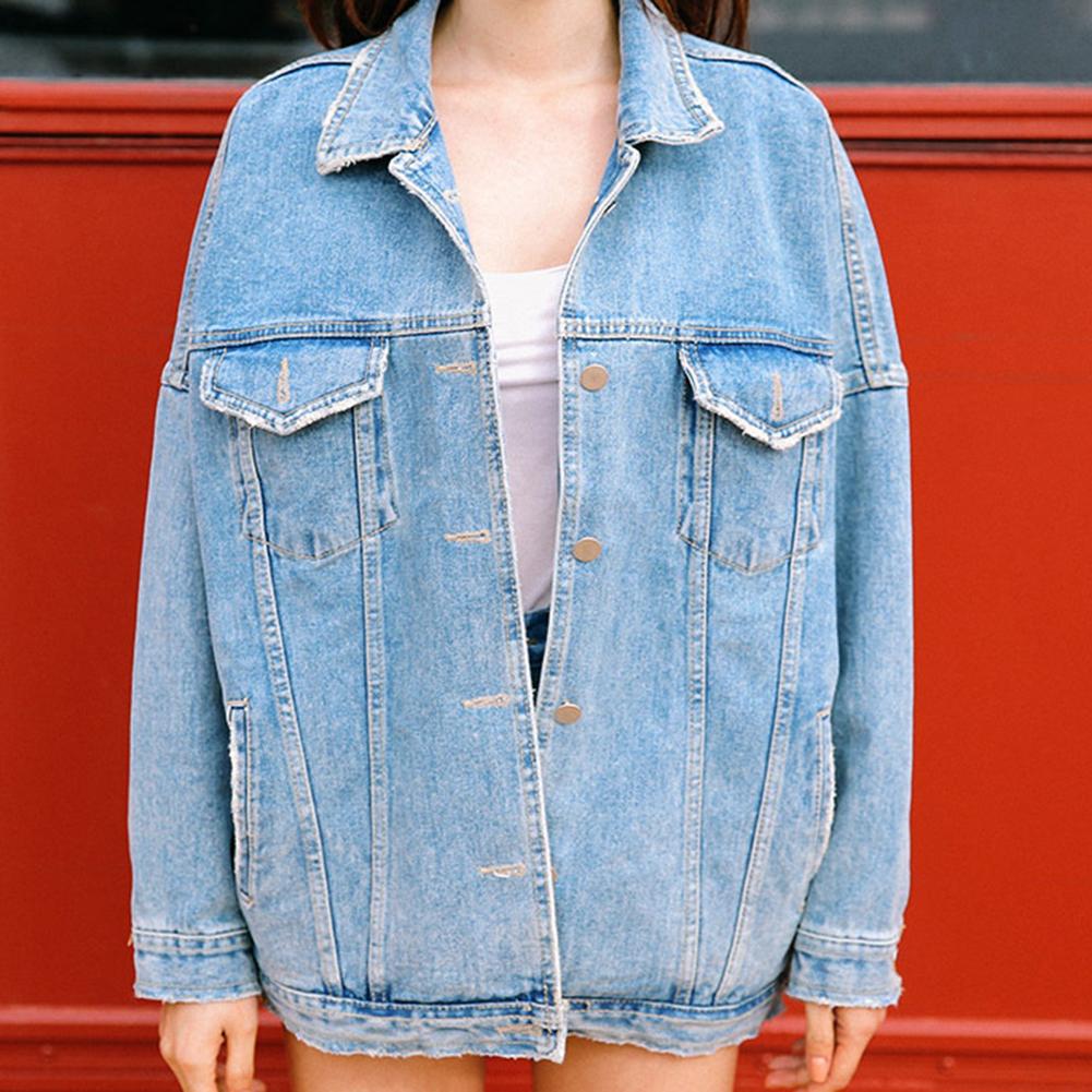 Retro Korean Boyfriend Style Womens Oversize Loose Jacket Casual Denim Jeans Coat Outwear