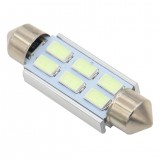 1Pcs 6SMD 31mm/36mm/39mm/41mm Car LED Light Bulb Festoon Dome Map Interior Light White