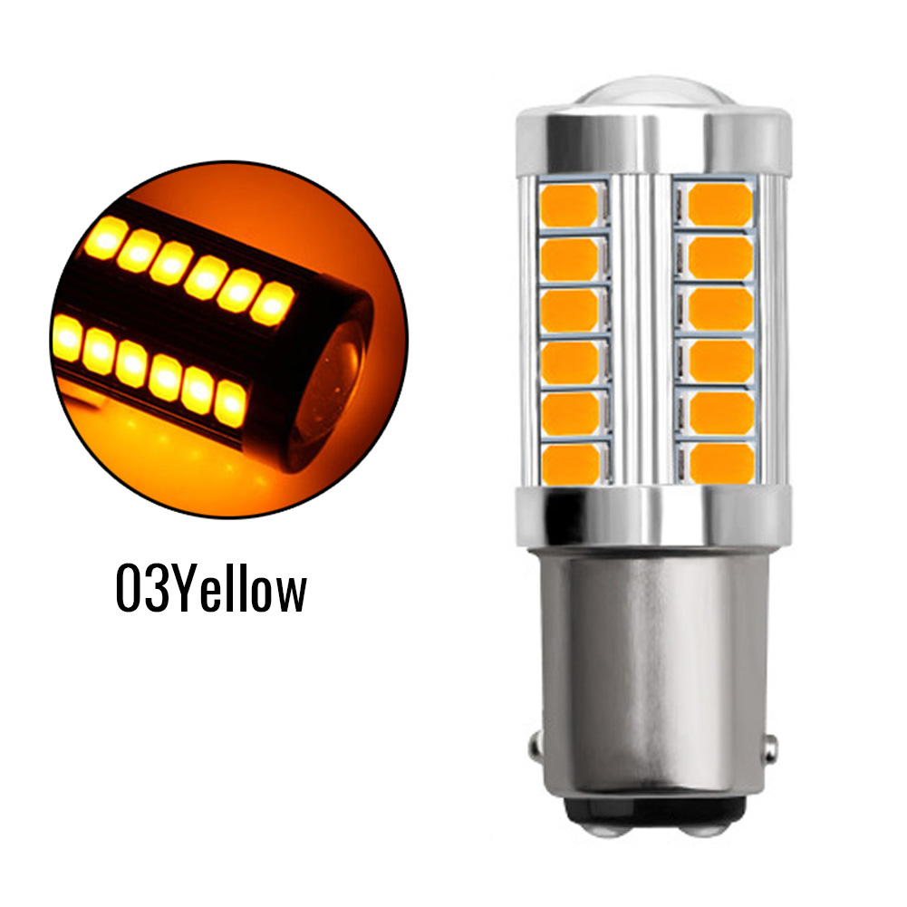 2x BA15S P21W 1156 LED Car Backup Reverse Light White Bulb 33-SMD 5630 5730 12V