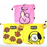 KPOP BTS Bangtan Boys Cartoon BT21 Pattern Plush Storage Drawstring Bag Coin Pocket