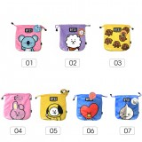 KPOP BTS Bangtan Boys Cartoon BT21 Pattern Plush Storage Drawstring Bag Coin Pocket