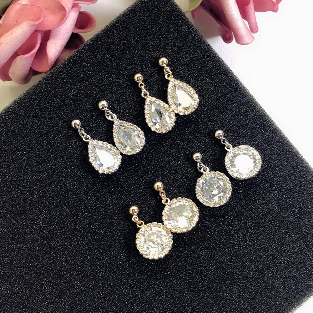 925 Silver Needle Drop-shaped Circle Zircon Pendant Earring Rhinestone Ear Stud Shining Crystal Earring Silver Gold Jewelry Gift For Women Girls