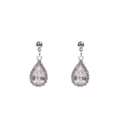 925 Silver Needle Drop-shaped Circle Zircon Pendant Earring Rhinestone Ear Stud Shining Crystal Earring Silver Gold Jewelry Gift For Women Girls