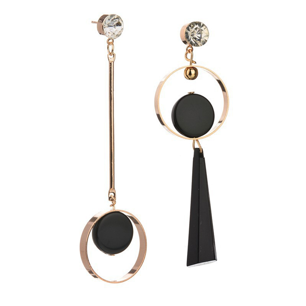 Fashion Circle Pendant Earring Hollow Out Geometric Dangle Ear Stud Asymmetric Earring Gold Silver Jewelry Gift For Women Girls