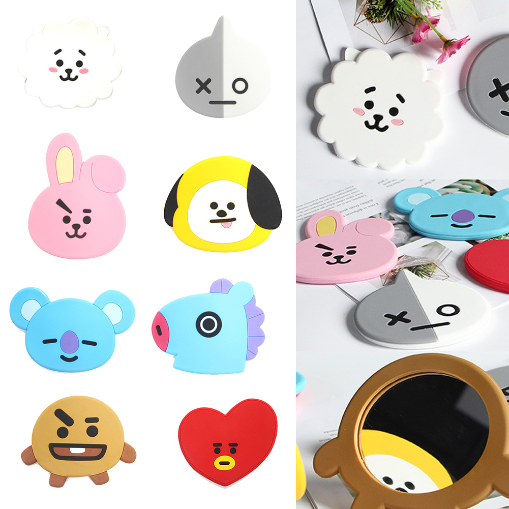 Kpop BTS Cartoon BT21 Pattern Mirror Bangtan Boys Makeup Birthday Xmas Gift Decor