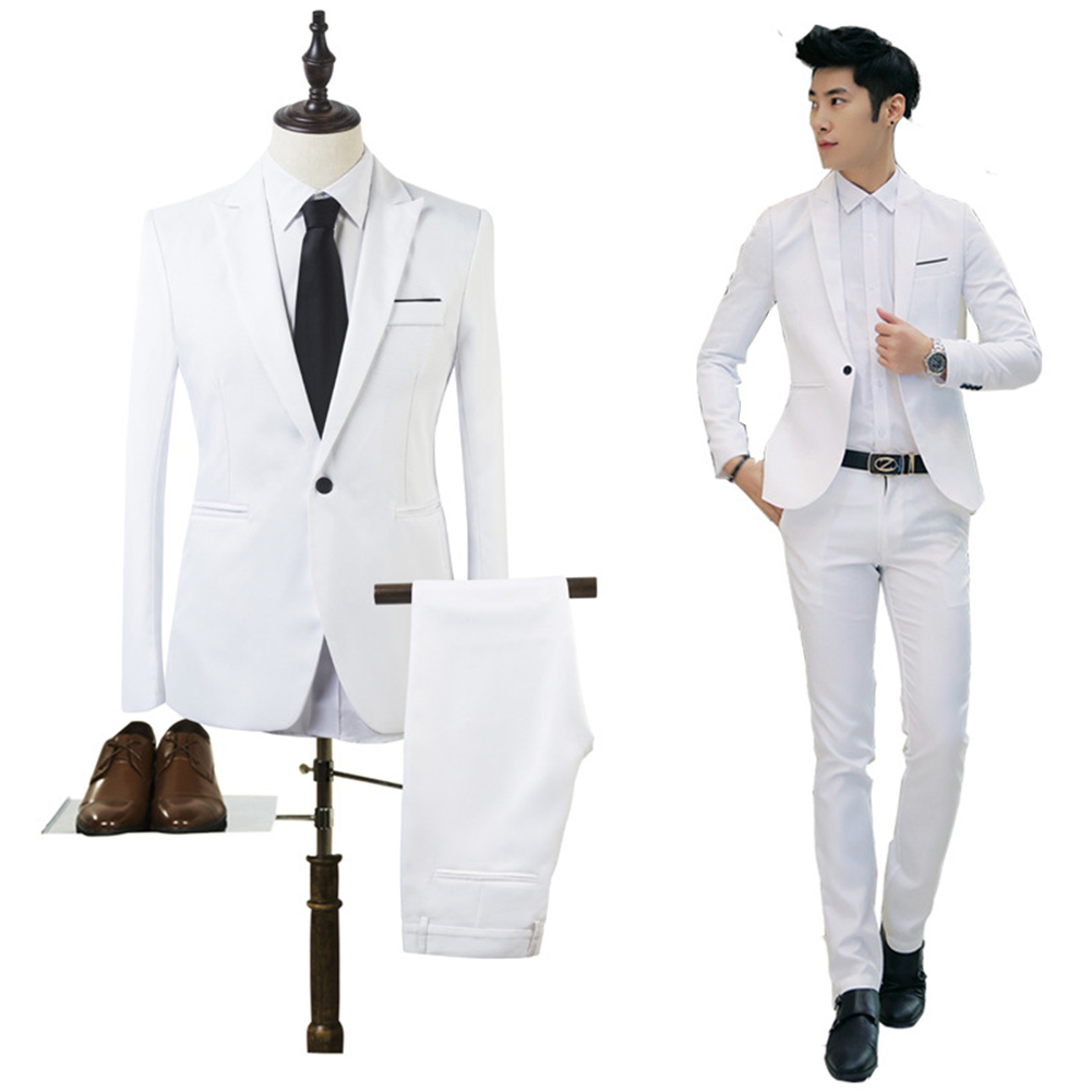 Mens Suits Business Male Slim Fit Blazer Bestman Groomsman Suits Formal Outfit One Button Jacket Pants 2Pieces