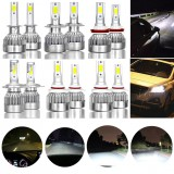 2Pcs 9005/9006/H7/H11/H4 72W LED Headlight Hi/Lo Kit Bulbs 6000K White Car Fog Lights