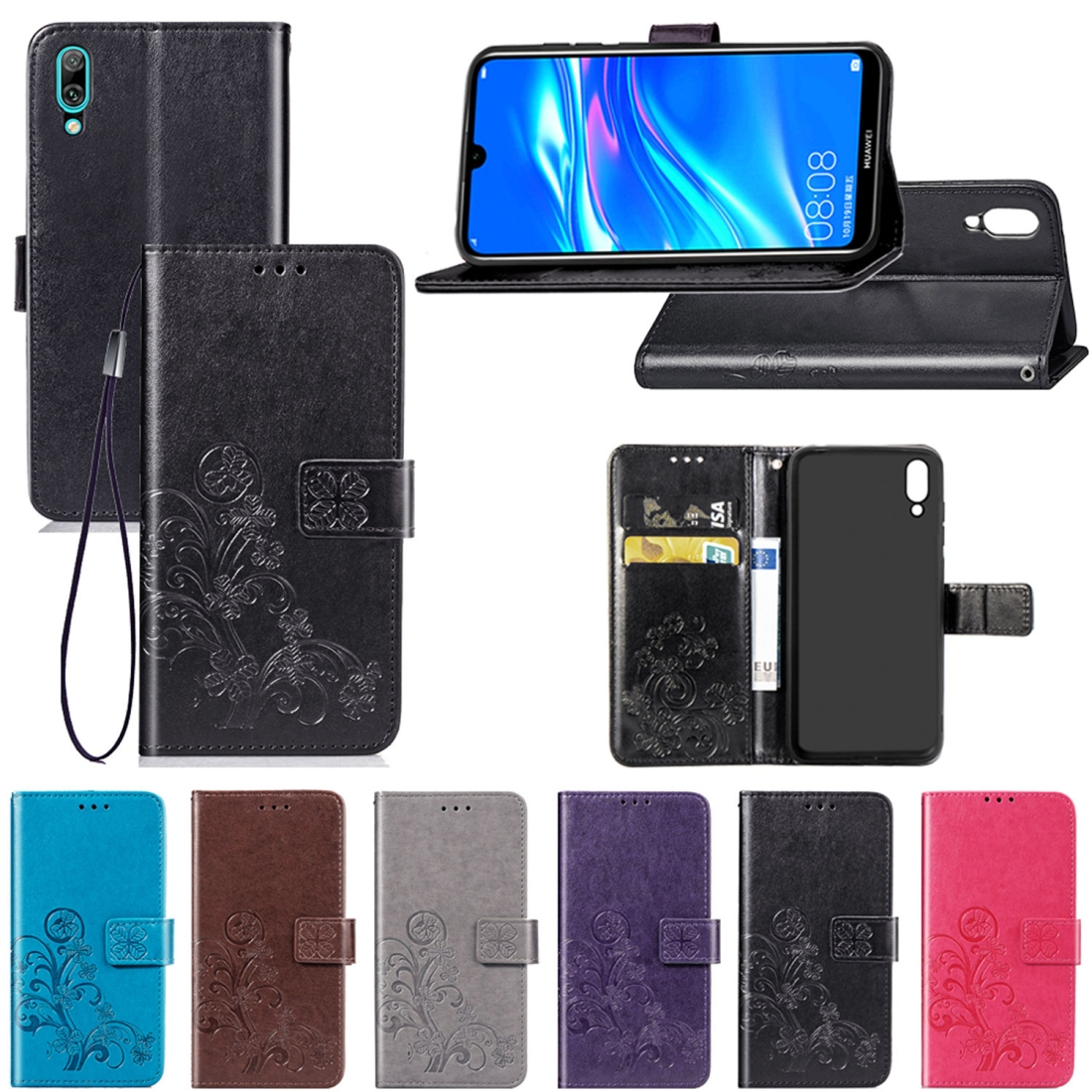 Lucky Clover Pressed Flowers Pattern Leather Case for Huawei Enjoy 9 with Holder & Card Slots & Wallet & Hand Strap (Black)