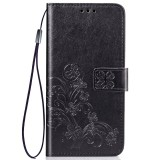 Lucky Clover Pressed Flowers Pattern Leather Case for Huawei Y6 Pro 2019 with Holder & Card Slots & Wallet & Hand Strap (Black)