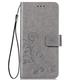 Lucky Clover Pressed Flowers Pattern Leather Case for Huawei Y6 Pro 2019 with Holder & Card Slots & Wallet & Hand Strap (Grey)