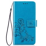 Lucky Clover Pressed Flowers Pattern Leather Case for Huawei Y6 Pro 2019 with Holder & Card Slots & Wallet & Hand Strap (Blue)