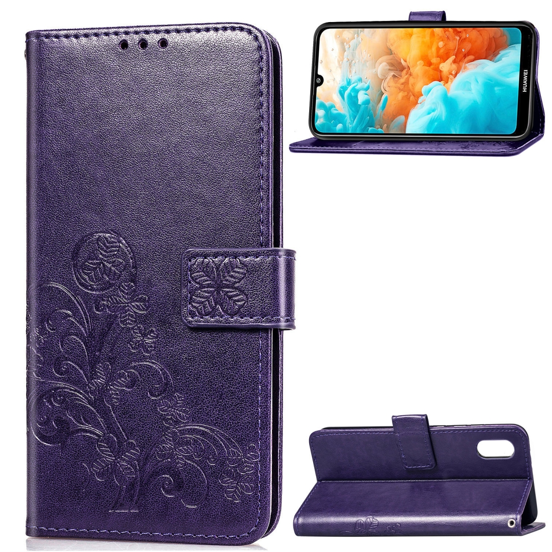 Lucky Clover Pressed Flowers Pattern Leather Case for Huawei Y6 Pro 2019 with Holder & Card Slots & Wallet & Hand Strap (Purple)