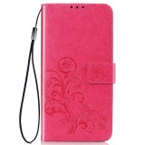 Lucky Clover Pressed Flowers Pattern Leather Case for Huawei Y6 Pro 2019 with Holder & Card Slots & Wallet & Hand Strap (Rose Red)