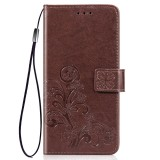 Lucky Clover Pressed Flowers Pattern Leather Case for Huawei Y6 Pro 2019 with Holder & Card Slots & Wallet & Hand Strap (Brown)