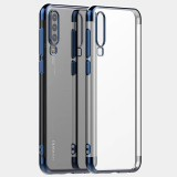 Three Sections Electroplating Side TPU Protective Back Case for Huawei P30 (Blue)