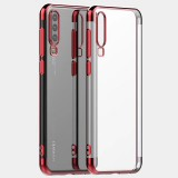 Three Sections Electroplating Side TPU Protective Back Case for Huawei P30 PRO (Red)