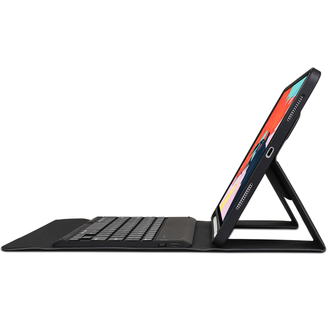 K01 Ultra-thin One-piece Bluetooth Keyboard Case for iPad Pro 11 inch (2018) with Bracket Function (Blue)