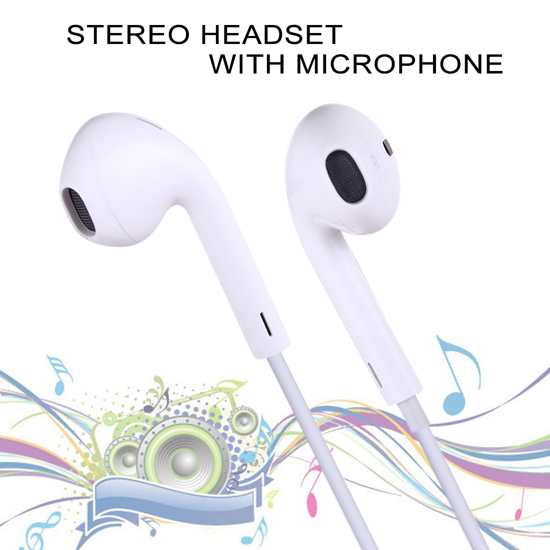 M26 8 Pin Stereo Dynamic Bass Earphone with Mic (White)